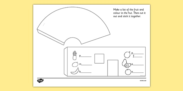 African Surprise Hut Paper Model Template - templates, frame, frames