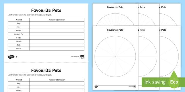 KS2 Pie Chart Differentiated Worksheet / Worksheets - interpret and