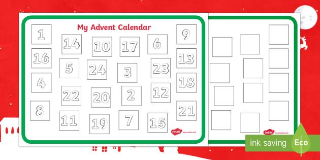Make Your Own Advent Calendar Template - Christmas, xmas