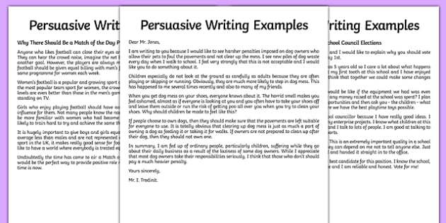 Persuasive Writing Sample - persuasive letter example