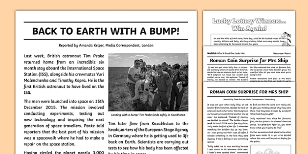 Newspaper Report Examples Resource Pack - Primary Resources