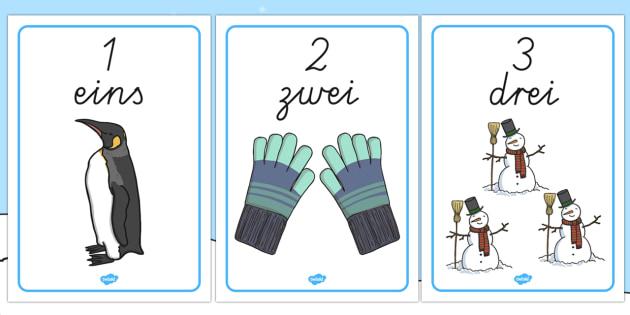 Zahlen und Zahlwörter 1 bis 10 Thema Winter Poster DIN A4