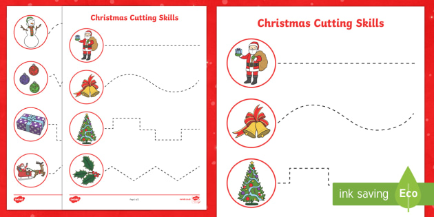 Christmas Themed Cutting Skills Worksheet / Worksheets