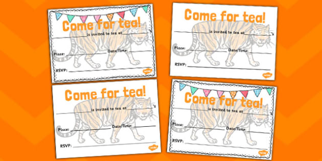 Tiger Invitation Templates-the tiger who came to tea, invitation