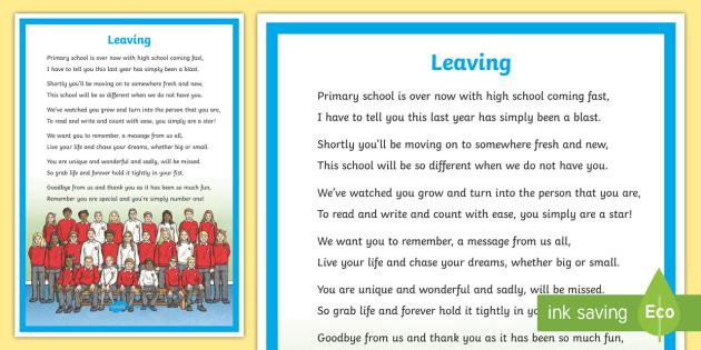 Leaving School Poem - Moving On, New School, Leaving, Goodbye, Thank you