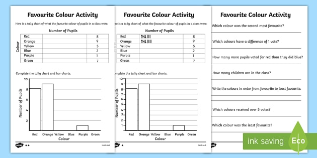 Favourite Colour Tally and Bar Chart Activity Sheets - tally - what is a bar chart