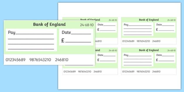 Maths Intervention Blank Cheque Templates - SEN, special needs - blank cheque template