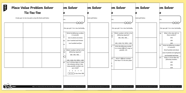 Place Value Problem Solving Tic-Tac-Toe Differentiated Worksheet