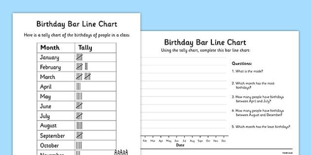 Birthdays Bar Line Chart Worksheets - bar and line chart worksheet, bar