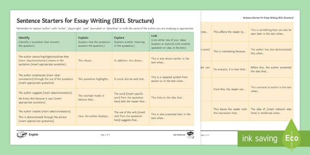 GCSE Sentence Starters for Essays Word Mat - IEEL, Analysis