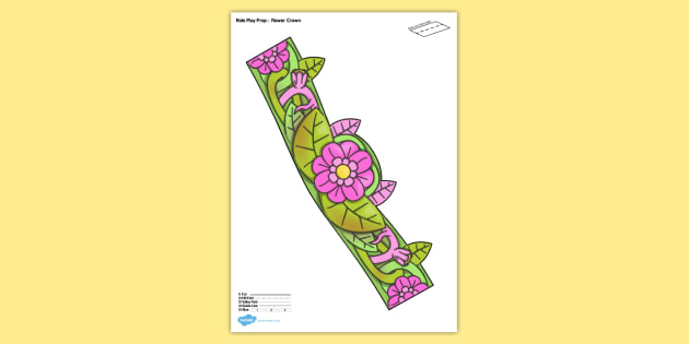 Spring Flower Crown Printable Role Play Prop - flower, crown, role-play