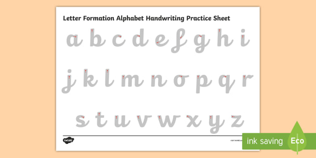Letter Formation Alphabet Handwriting Practice Sheet (Lowercase)