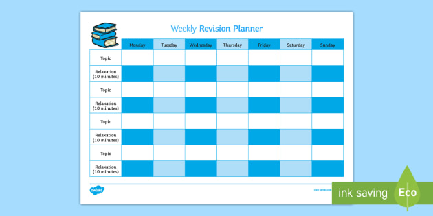 Weekly Revision Timetable - Young People  Families Case File - revision timetable template