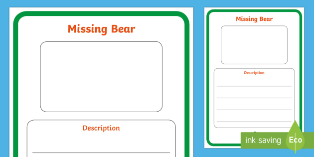 Missing Bear Poster Writing Template - Literacy, writing