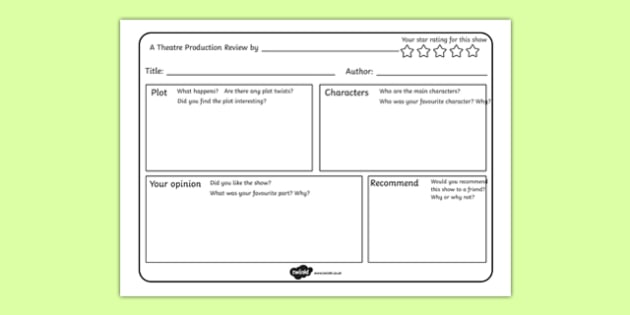 Theatre Production Review Writing Frame - theatre production