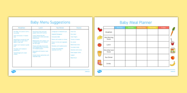 Baby Meal Planner and Menu - Food, baby, weaning, solids, meals
