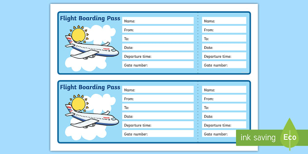 Editable Airline Boarding Pass - Airport, role play, pack - boarding pass template