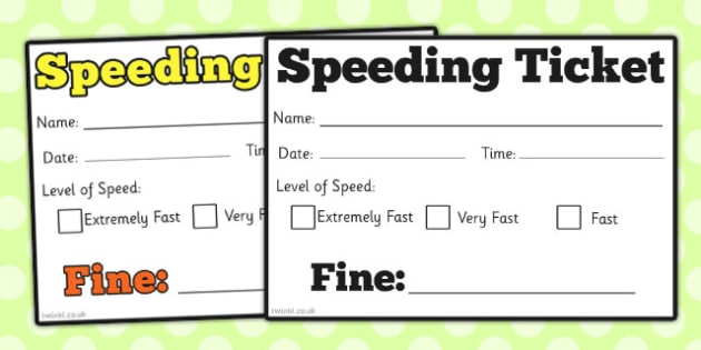 Car Speeding Ticket - role-play, speeding, car, ticket, speeding - play ticket template