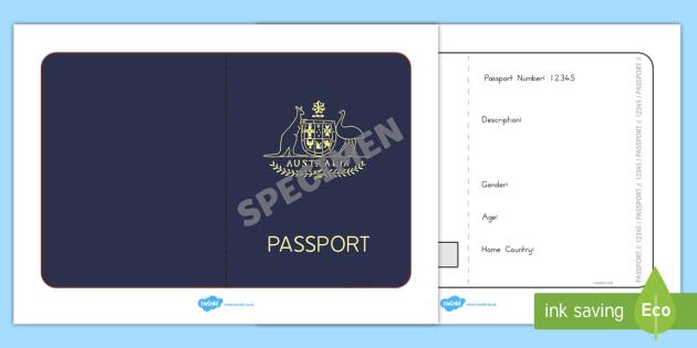 Australian Passport Template - passport, airline, australia - passport template