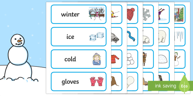 Winter Topic Word Cards - Winter, winter words, Word card, flashcard