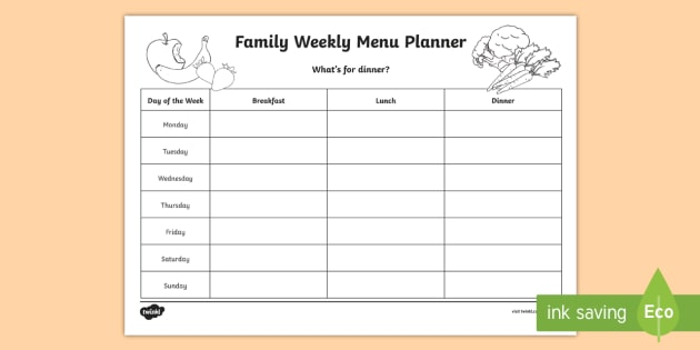 Family Weekly Menu Planning Template - Young People  Families - menu planning template