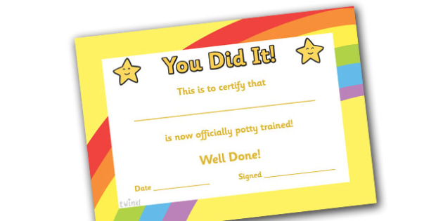 Potty Training Certificate - certificates, award, well done - training certificate