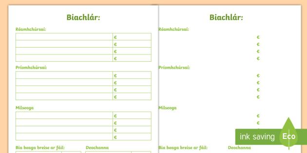 Biachlár Blank Writing Template Gaeilge - Biachlár, Bia