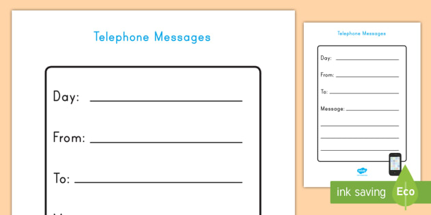 Home Living Role Play Telephone Message Form - home living