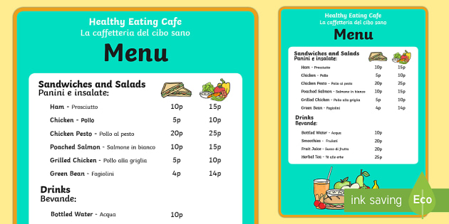 Healthy Eating Cafe Role Play Menu English/Italian - Healthy - italian menu