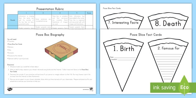 Pizza Box Biography Activity - Project, Presentation, Research
