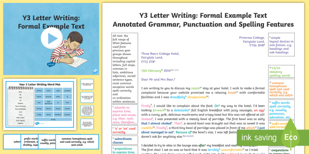 Y3 Letter Writing Formal Model/Example Text - Example Texts Y3 - formal letters example