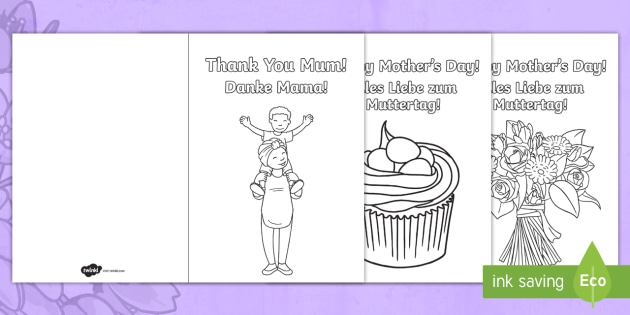 Mother\u0027s Day Card Templates Colouring Pages English/German