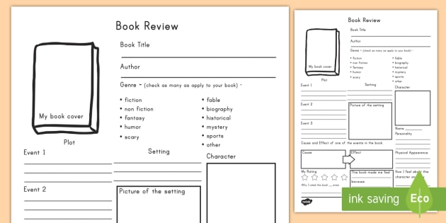 In Depth Book Review Writing Template - book review, template