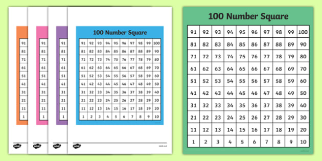 FREE! - 100 Square (Bottom to Top) - 100 Square, number square, hundred