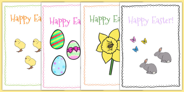 Easter Card Templates (A5) - Easter Topic, Easter, Happy Easter