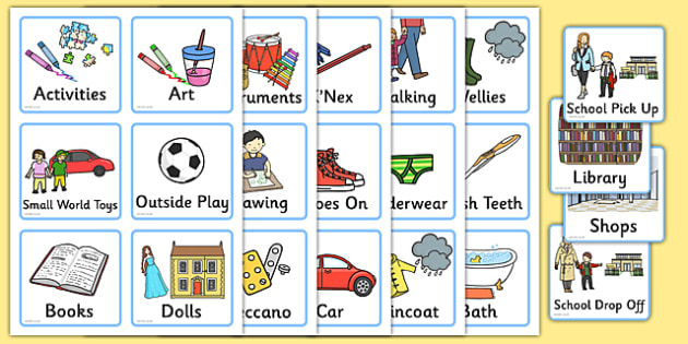 Daily Routine Cards for Home - visual timetable, time table - daily timetable