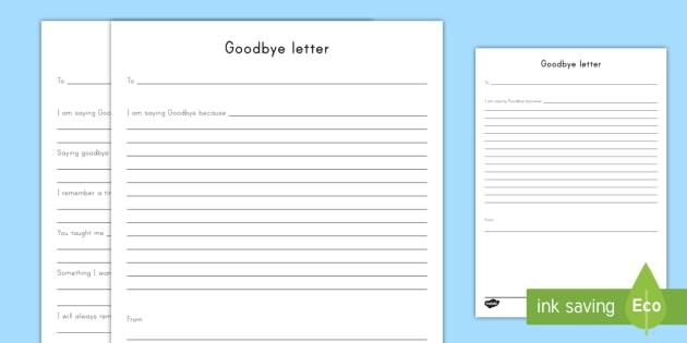 Goodbye Letter Worksheet / Activity Sheet - Grieving Through