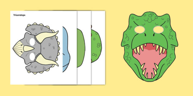 Dinosaurs Role Play Masks - Dinosaur, Role Play, mask, history, t-rex
