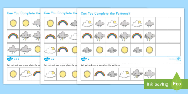 Weather Differentiated Complete the Pattern Worksheet / Worksheet