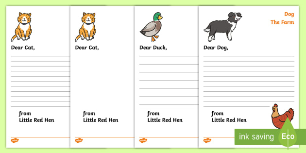 FREE! - Little Red Hen Letter from Hen Writing Template - Little Red Hen
