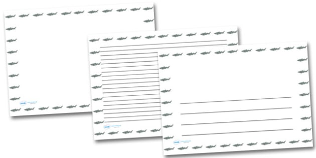 Shark Landscape Page Borders- Landscape Page Borders - Page - printable writing paper with border