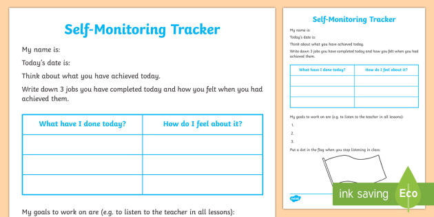 Self-Monitoring Recording Template - Young People  Families Case File