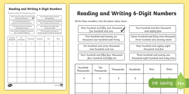 Place Value Reading And Writing 6 Digit Numbers Worksheet