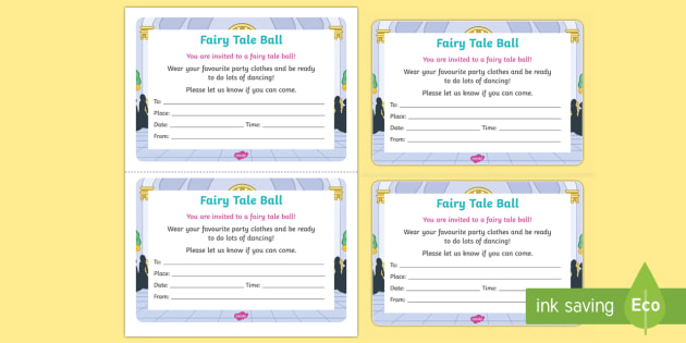 Editable Invitation Template Ks1 Fairy Tale Ball Invitation Writing Template - Eyfs, Early