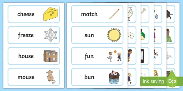 FREE! - Rhyming Word Cards - Primary Resources