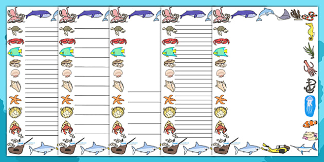 Under the Sea Page Borders - page border, border, frame, writing - lined pages for writing