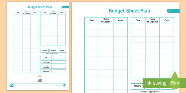 NEW * Home Educator Budget Sheet Plan - Expenditure planning, cashflow