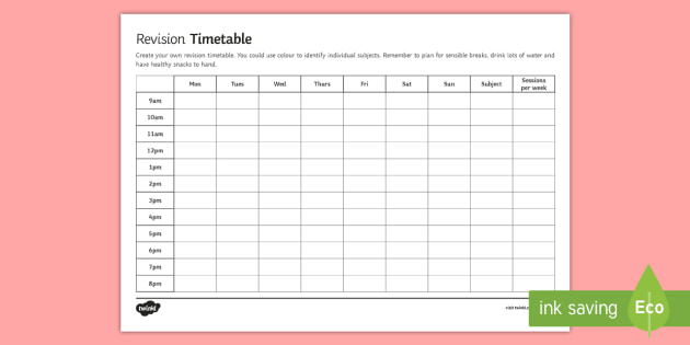 Secondary Blank Revision Timetable - revision, timetable, GCSE - revision timetable template