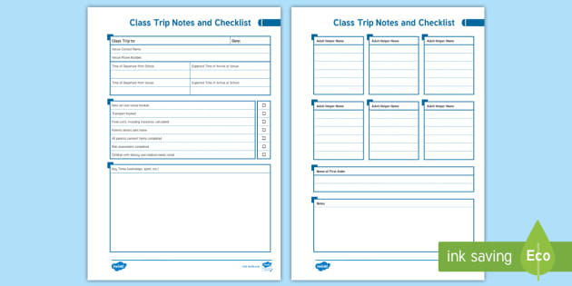 NEW * EYFS Class Trip Notes and Checklist