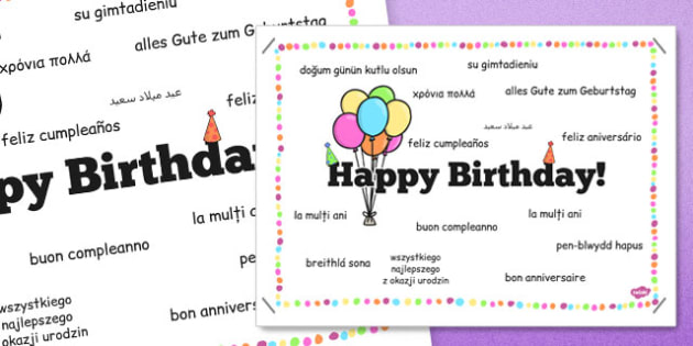 Happy Birthday in Different Languages Poster - happy birthday